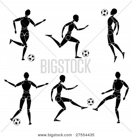 model man silhouette soccer football with ball