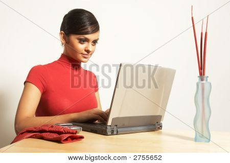Business Woman With Laptop And Phone