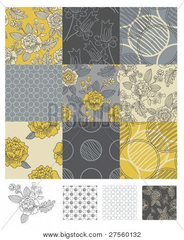 Contemporary Floral Seamless Patterns. Use to print onto fabric or paper craft projects.