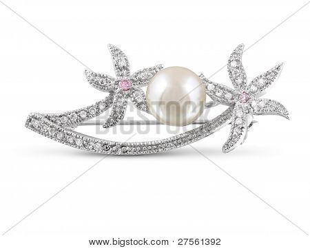 Silver Brooch With Pearl Isolated