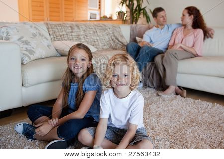 Family spending time in the living room together