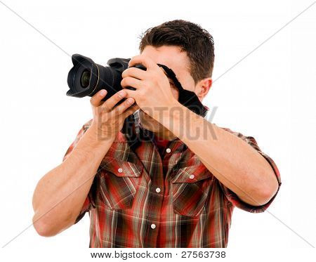 Active young photographer with camera, isolated on white