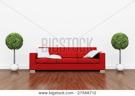 Red Couch On Wooden Floor