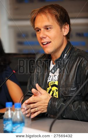 MOSCOW - MAY 6: Popular Dutch DJ Armin Van Buren at a press conferences on May 6, 2011 in Moscow, Russia.