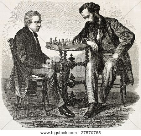 American chess prodigy Paul Morphy (on the left) playing a match. Created by Marc, published on L'Illustration, Journal Universel, Paris, 1858