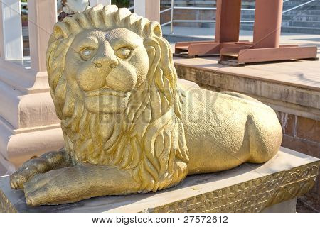 Big Gold Lion In Temple