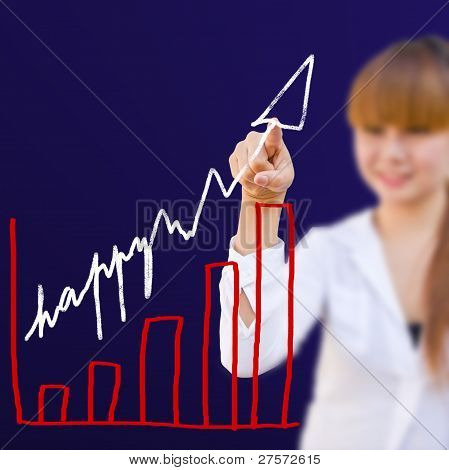 Businesswoman With Write Happy Graph