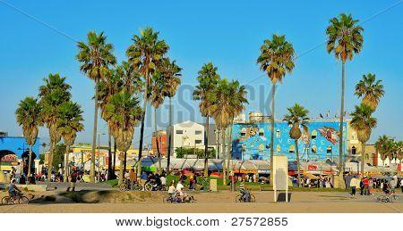 VENICE, US - OCTOBER 16: Ocean Front Walk of Venice Beach on October 16, 2011 in Venice, US. This boardwalk is 2.5 kilometer long