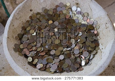 Donation Bowl With Money Collection