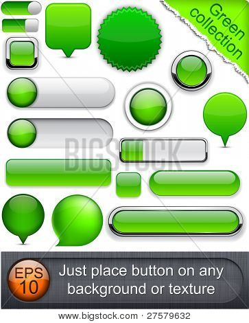 Blank green web buttons for website or app. Vector eps10.