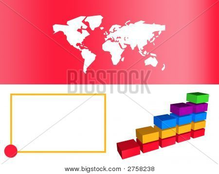 Red Business Bar Chart Showing Growth