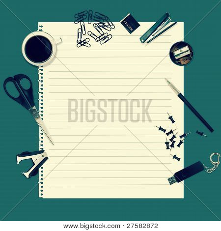 Office Table With Stationery Accessories And Empty Paper For Your Text