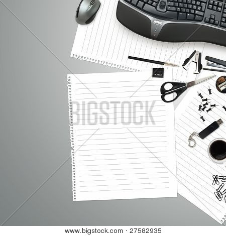 Office Table With Stationery Accessories, Keyboard And Empty Paper For Your Text