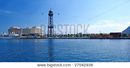 Panoramic Cityscape Of Barcelona Harbour With Ropeway. Spain, Europe.