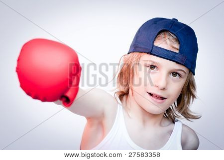 child with boxing gloves