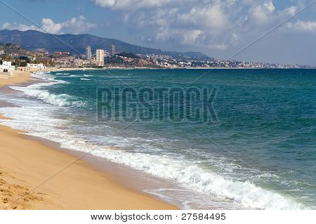 Badalona Spain Coast And Beach