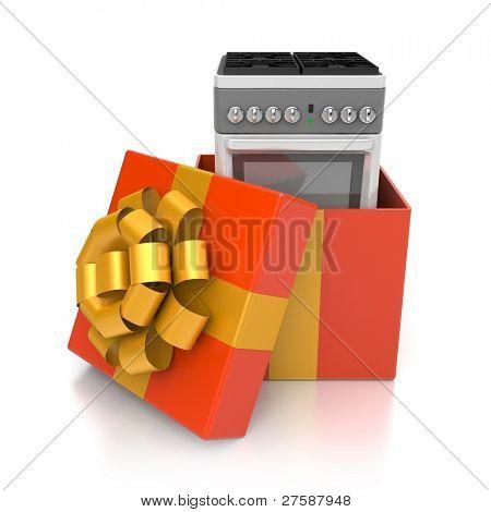 Geschenkbox mit Gasherd. Bild enthalten Beschneidungspfad