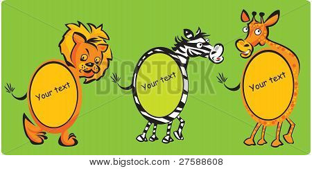 Set of oval frames - animals (leon, zebra, giraffe) for kids