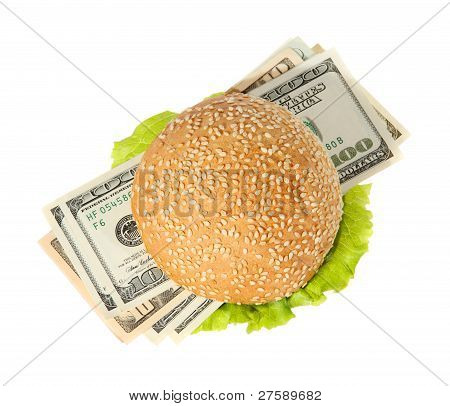 Hamburger With Money On The White Background