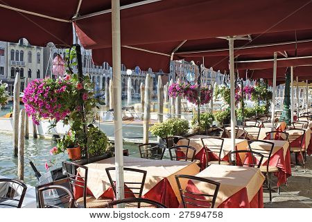 Venice, The Interior Of The Cafe On The Grand Canal