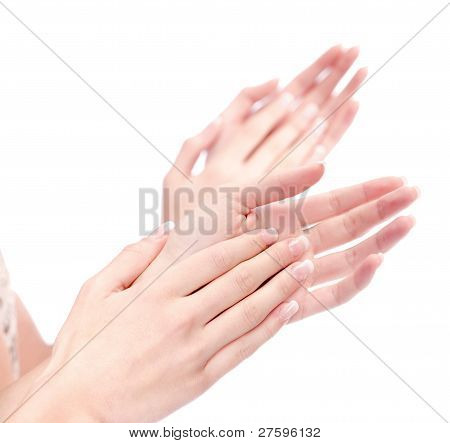Two Woman Hands Applauding, Isolated On White