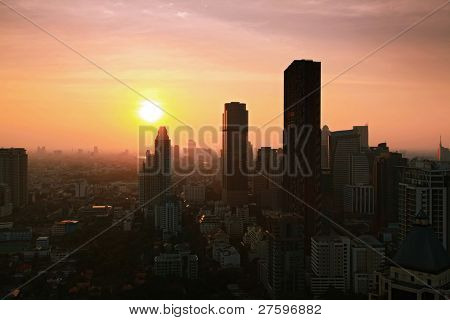 Aerial view of Bangkok Skyline cityscape with sunset Thailand