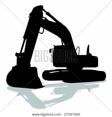 Digger Work Machine Black Silhouette