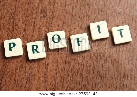 Profit word made by letter pieces