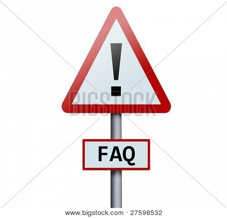 FAQ word on road sign
