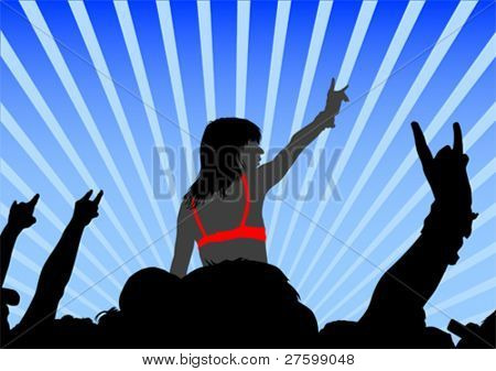 Vector drawing crowds and beautiful girl
