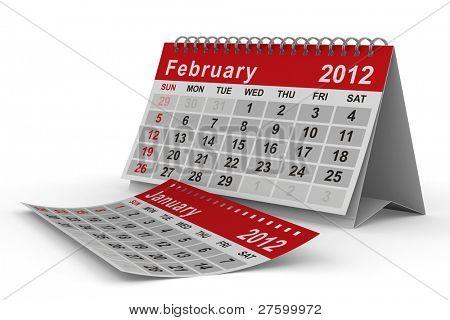 calendario del año 2012. Febrero. Imagen 3D aislada