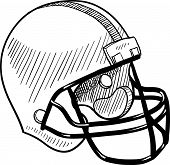 image of football helmet  - Doodle style football helmet sports equipment in vector format - JPG