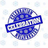 Celebration Round Stamp Seal On Winter Background With Snow. Blue Vector Rubber Imprint With Celebra poster
