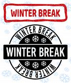 Winter Break Stamp Seals On Winter Background With Snowflakes In Clean And Draft Versions For Christ poster