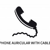 Phone Auricular With Cable Icon Isolated On White Background. Phone Auricular With Cable Icon Simple poster