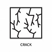 Crack Icon Isolated On White Background. Crack Icon Simple Sign. Crack Icon Trendy And Modern Symbol poster