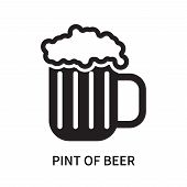 Pint Of Beer Icon Isolated On White Background. Pint Of Beer Icon Simple Sign. Pint Of Beer Icon Tre poster