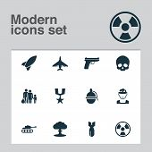Army Icons Set With Tank, Fighter, Gun And Other Aircraft Elements. Isolated Vector Illustration Arm poster