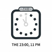 The 23:00, 11 Pm Icon Isolated On White Background. The 23:00, 11 Pm Icon Simple Sign. The 23:00, 11 poster