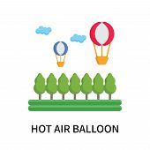 Hot Air Balloon Icon Isolated On White Background. Hot Air Balloon Icon Simple Sign. Hot Air Balloon poster