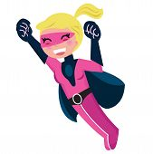 Flying Pink Cute Superhero Girl Isolated On White