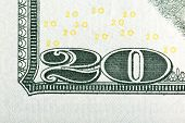 Number 20. Fragment Of U.s. 20 Banknote, Extreme Macro Photo. poster
