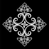 White Vintage Ornament With Black Background, Baroque Ornament, Scroll Ornament, Engraving Border Or poster