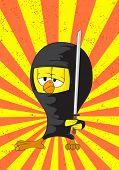 Постер, плакат: Мультфильм ниндзя куриных на цвет фона