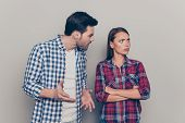 Portrait Of Two Attractive Fury Furious People Married Spouses Wearing Checked Shirt Guy Yelling At  poster