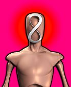 foto of mobius  - Blank faced figure with the an infinite Mobius strip - JPG