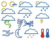 Weather Symbol Collection In Neon poster