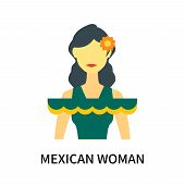 Mexican Woman Icon Isolated On White Background. Mexican Woman Icon Simple Sign. Mexican Woman Icon  poster