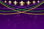 Horizontal Pattern Beautiful Yellow, Green, Purple Beads On A Dark Night Background With Flashes Of  poster