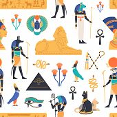 Seamless Pattern With Gods, Deities And Mythological Creatures From Ancient Egyptian Mythology And R poster